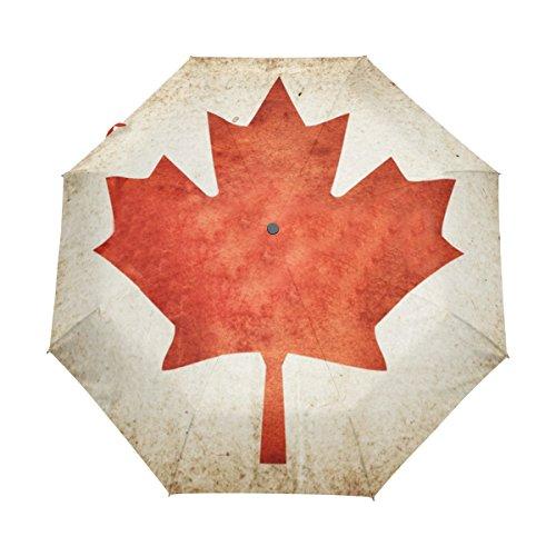 Top Carpenter Grunge Flag Of Canada Anti UV Windproof Travel Umbrella Parasol with Auto Open/Close Button