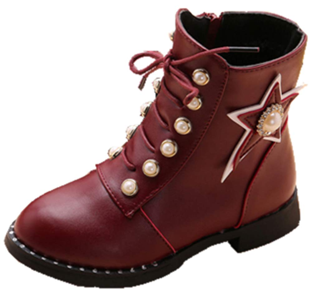 VECJUNIA Girl's Martin Boots with Pearls Stars Ankle High Side Zipper School (Wine Red, 11.5 M US Little Kid)