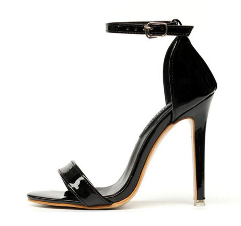 GLTER Mujeres bombas de correa de tobillo Verano palabra nueva abierto-Toed hebilla de tacón alto sandalias de lucha zapatos de corte , black , 35 35|black