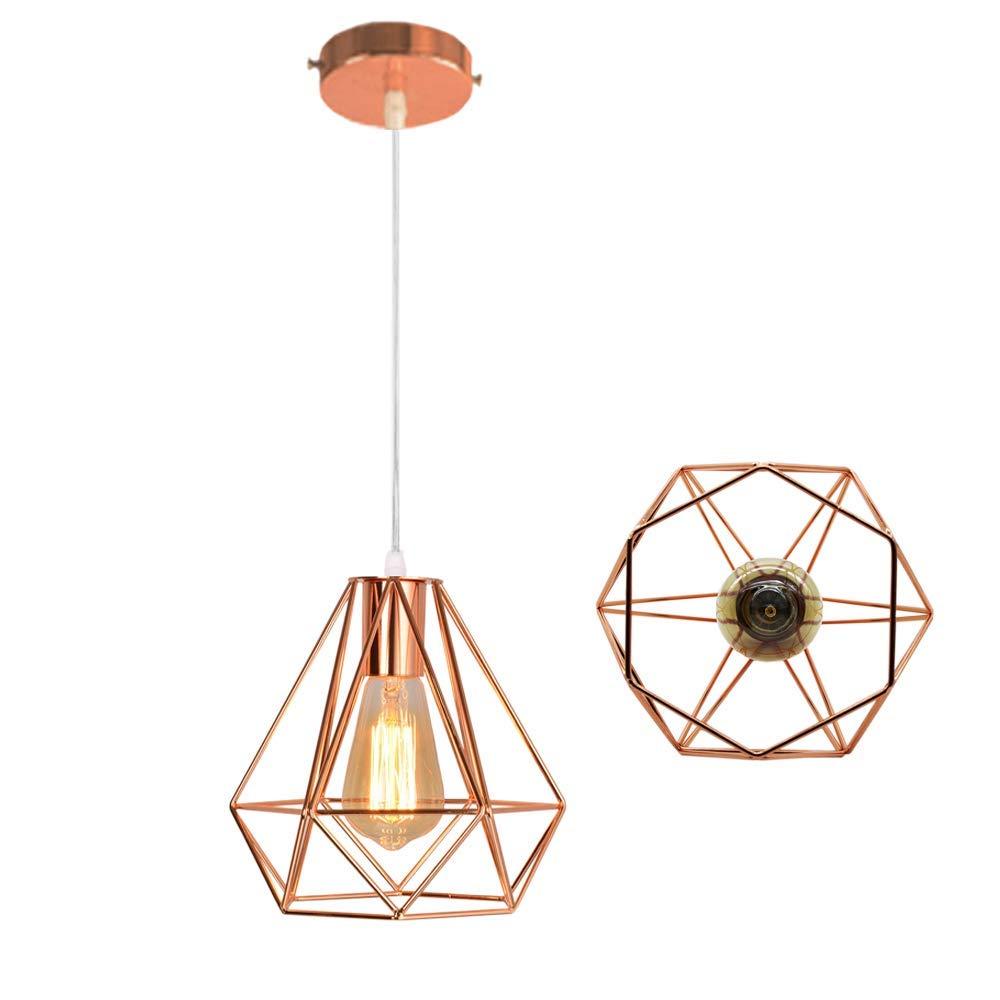WHL.HH Industriedesign Diamant Ros/égold Kronleuchter Prismatische Lampenschirm Retro Kronleuchter Deckenleuchte LED