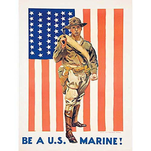 Wee Blue Coo Propaganda Military Enlist Recruit Us Marine Corps Flag USA Unframed Wall Art Print Poster Home Decor Premium