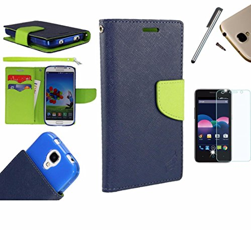 Photo - For Microsoft Lumia 550 Phone Case PU Leather Flip Cover Folio Book Style Pouch Card Slot Wallet + [WORLD ACC®] LCD Screen Protector+ Stylus (Navy Blue/Green)