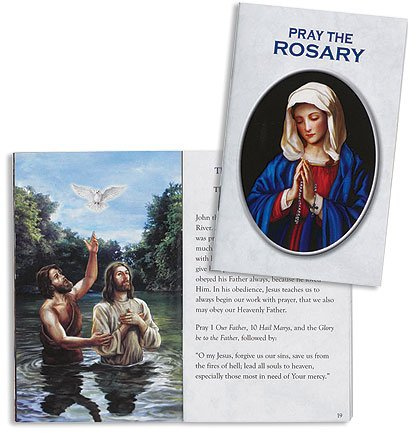 Catholic Religious Gift 20 Mysteries of the Rosary Ilustrated Pocket Purse Wallet Prayer Reference Booklet