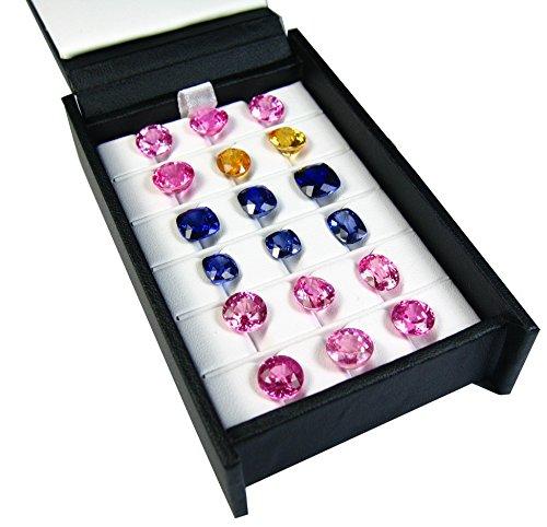 3 Rows 6 Columns GEM Color Gemstone Display Tool Show CASE Travel Tray Box 11x6.5 cm.