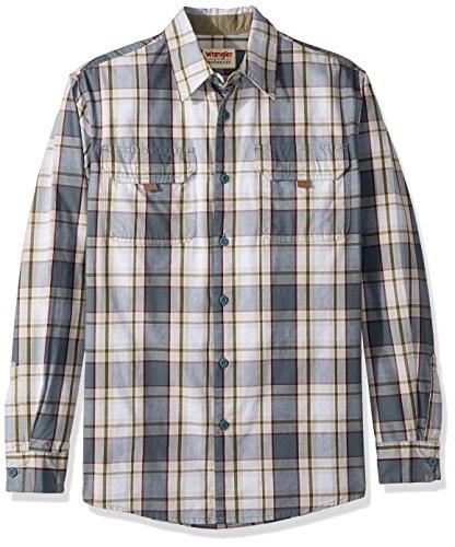 Wrangler Authentics Men's Long Sleeve Canvas Shirt, stormy weather plaid, L