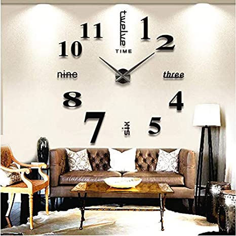 Amazon Com Luxiplus Large Diy Wall Clock Frameless 3d Wall Clock With Mirror Numbers Stickers For Home Office Decorations Gift 02 Black Kitchen Dining
