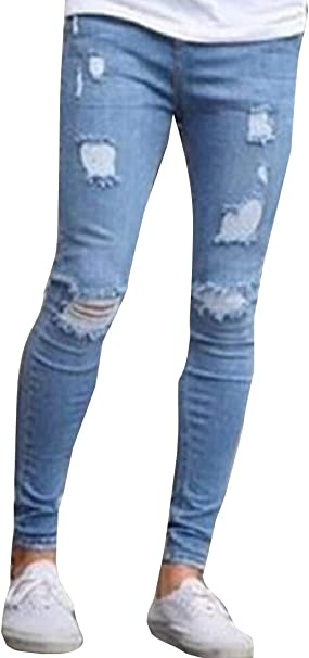 ouxiuli Womens Blue Destroyed Ripped Distressed Skinny Jeans Pants