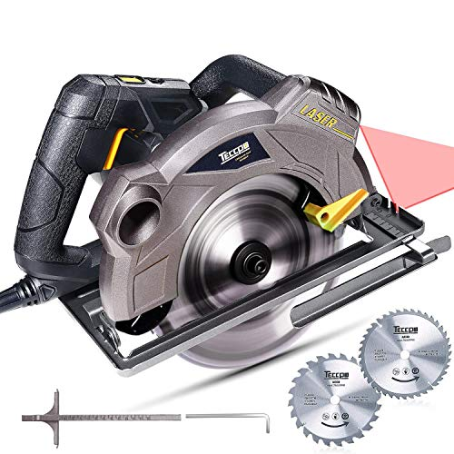 """Saw Circular Laser - Circular Saw, TECCPO 7-1/4"""" 5500 RPM Saw with Laser Guide, 24T&40T Circular Saw Blades,Lightweight Aluminum Guard and Scale Ruler, TACS01P"""