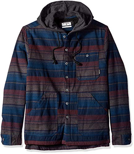 Billabong Men's Baja Sherpa Hooded Flannel Shirt Navy Large