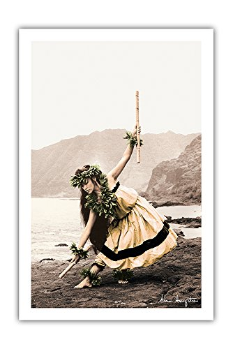 (Pacifica Island Art Pua with Sticks (Kala'au) - Hawaiian Hula Dancer - From an Original Hand Colored Photograph by Alan Houghton - Premium 290gsm Giclée Art Print - 24in x 36in)