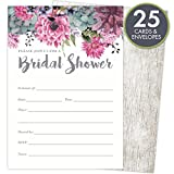 Bridal Shower Invitations Set of 25 Cards and Envelopes, Fill-In Style Vintage Rustic Design with Pink, Grey, Blue and Purple Watercolor Florals. Printed on Heavy 140lb Card Stock.