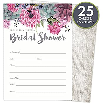 Amazoncom 40 Floral Watercolor Bridal Shower Invitations 40