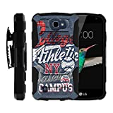 MINITURTLE Case Compatible w/ LG K4 Case, Optimus Zone 3, Spree, LG Rebel |[Armor Reloaded] Rugged Shell Armor Impact Hard Rubber Durable Unique Creative Cover + Belt Clip, Blue College Sports
