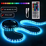 LEN LED Strip Lights with Remote 5M 16.4 Ft 5050 RGB 150LEDs Flexible Color Changing Full Kit with RF mini Controller, 12V 2A Power Supply for Home & Kitchen and Christmas Decorative