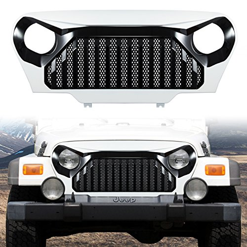 Danti Painted Gladiator Vader Front Grill Grid Grille Cover Black & White For Jeep Wrangler TJ & Wrangler Unlimited 1997 1998 1999 2000 2001 2002 2003 2004 2005 2006 (Black & White)