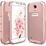 S4 Case, Galaxy S4 Case, Hinpia Samsung Galaxy S4 Case 2in1 Slim Fit Hard Impact Hybrid Dual Layer Shockproof Bumper Case Cover for Samsung Galaxy S4 - Rose Gold/Rose Gold
