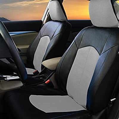 FH Group PU008115 Highest Grade Faux Leather Seat Covers (Gray) Full Set with Gift - Universal Fit: Automotive