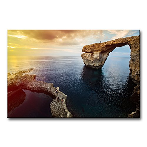Mediterranean Poster Bed - Wall Art Decor Poster Painting On Canvas Print Pictures Azure Window On Gozo Island Dwejra Malta Mediterranean Europe At Dramatic Sunset Seascape Coast Framed Picture For Home Decoration Living Room Artwork