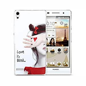 Blusmart Painted Series PC Plastic Hard Cover with Beautiful Girl in LOVE Pattern Protective Skin Shell Back Case for Huawei Ascend P6