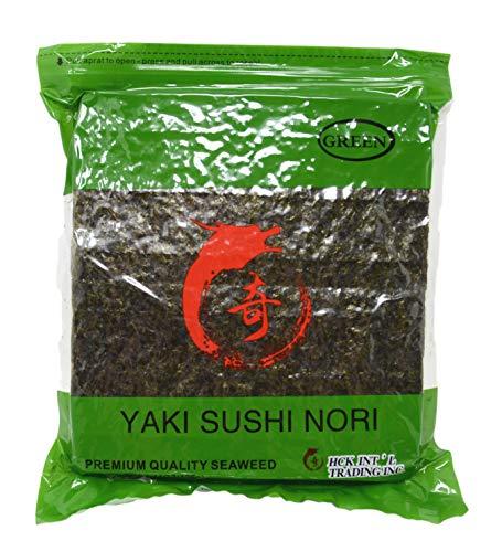 Soeos Yaki Sushi Nori, Nori Sheets for Sushi, Dreid Seaweed Sheets, Premium Quality Seaweed, 100 Half Sheets (Green Grade, 1 Pack)