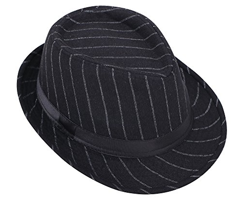 AshopZ Unisex Mens Womens Lighweight Gangster Short Brim Fedora Black Two -