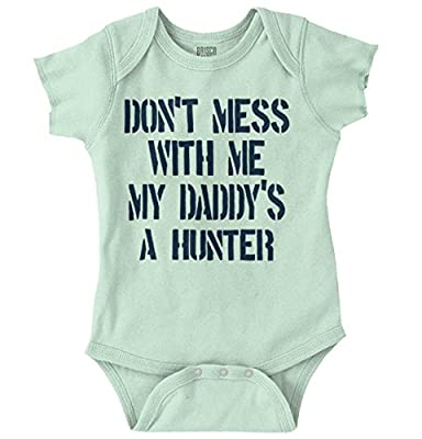 Daddy's a Hunter New Parents Baby Shower Gifts Funny Saying Onesie Bodysuit by Brisco Apparel that we recomend individually.