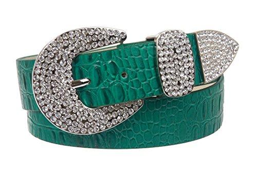 Womens Snap On Western Crocodile Print Rhinestone Leather Belt, Green | M/L - 36