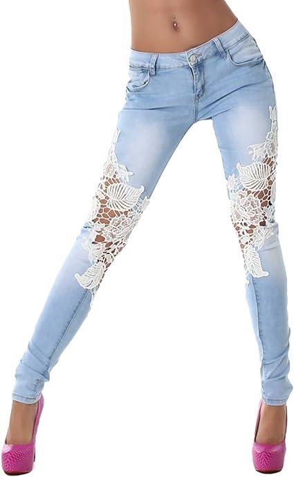 TALLA L. ZKOO Las Mujeres Señoras de Encaje Cosido Pantalones Denim Pantalones Vaqueros Skinny Lápiz