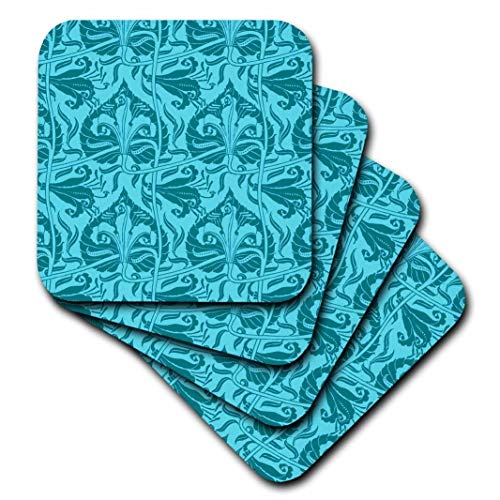 Lily Nouveau - 3dRose Walter Crane Art Nouveau Lily Pattern in Aqua-Soft Coasters, Set of 8 (CST_219075_2), Multicolor