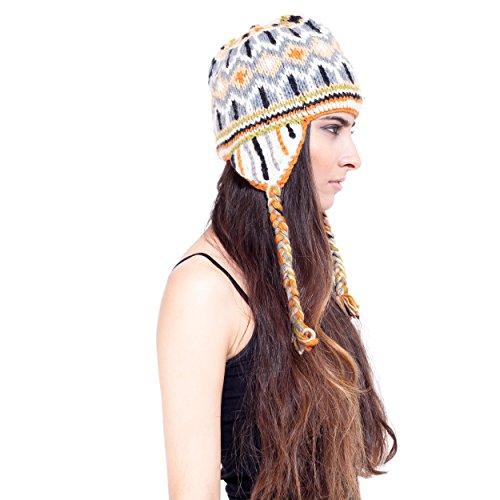 (Lakhays Unisex Handknit woolen earflap hat with fleece lining-Camel-One Size)