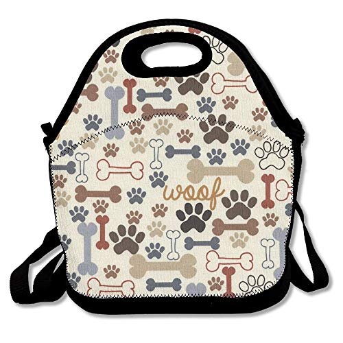 COLOMAKE Outdoor Travel Picnic Lunch Bag - Dog Bones Paw Pri