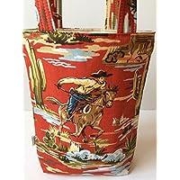 Cowboy Print Bag, Rodeo Print Gift Bag, Small Diaper Bag, Canvas Tote, Boys Birthday Gift Bag, Cowboy Gift Bag, Gift for Boy, New Baby Gift, Baby Shower Gift Bag