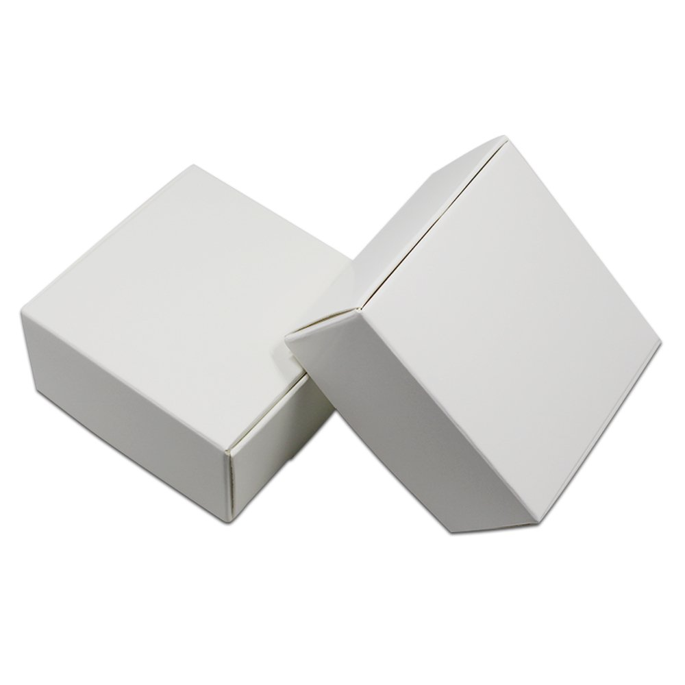 Kraft Paper Party Jewelry Packaging Boxes Small Gift Present Invitation Holiday Storage Boxes White Cardboard Earrings Cosmetic Makeup Decorative Box (3.0x3.0x1.2 inch(7.5x7.5x3 cn), 200 pieces)
