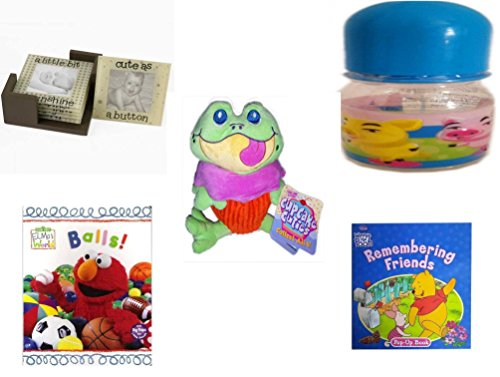 Children's Gift Bundle - Ages 0-2 [5 Piece] Includes: Glass Photo Coasters, ID Gear Baby Bottle Three Pigs 4 oz, Cupcake Cuties Sugar Loaf Plush Stuffed Baking Pastry Funny Frog Doll 10