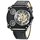GOER Golden Skeleton Exaggerated Design 3 Movements Sport Auto Mechanical Watch