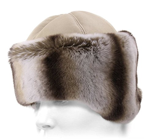 K.Tsanikidis Women's Svetlana Leather Fur cossack Hat Size 57 Cm by K.Tsanikidis