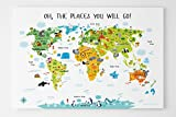 Unique Baby Gift, World Map Canvas for Kids by Pictureta, Decorate and Educate, Nursery Decor or Playroom Wall Art (36''W x 24''H, White)