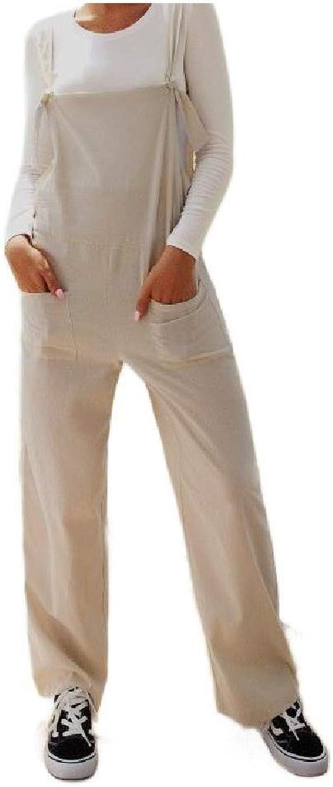 UUYUK Women Jumpsuit Romper Loose Fit Baggy Ripped Distressed Denim Bib Overalls