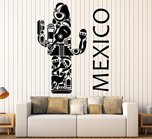 Vinyl Wall Decal Mexico Latin America Big Cactus Mexican Stickers Large Decor (1237ig) Gold Metallic (Stickers Wall Mexico)