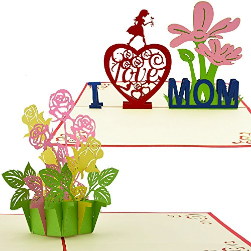 Mother's Day Greeting Cards: 3D Pop Up Card Intricate Flower Designs Perfect for Mother's Day, Mom Birthday (2 Pack - Kirigami) (Cute Halloween Cakes Birthday)