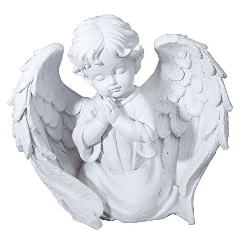 "(Praying Cherub Angel, Resin Garden Memorial Statue Figurine, 7"" High x 7"" Wide)"