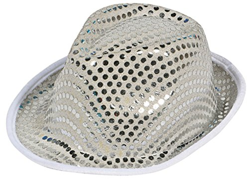 [Funky Silver Sequin Roaring 20s Gangster Fedora Hat] (20s Gangster Adult Costumes)