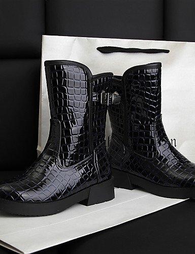 Blue 5 La U Casual Azul negro Eu36 Patentado Moda Dark Vestido Zapatos De Blue Eu39 Uk6 Uk3 Puntiagudos Cn39 Bajo Tacón Cuero Semicuero Botas Cn35 A Mujer Xzz 5 us8 us5 WqSwF8Zagw
