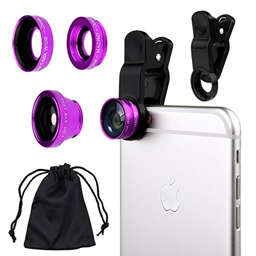 Universal 3 in1 Camera Lens Kit for Smart phones includes One Fish Eye Lens / One 2 in 1 Macro Lens and Wide Angle Lens / One Universal Clip / One Microfiber Carrying Bag / with Camkix Retail Packaging – Compatible with iPhone, Samsung Galaxy, HTC, Motorola, Tablets, iPad, and Laptops (Purple)