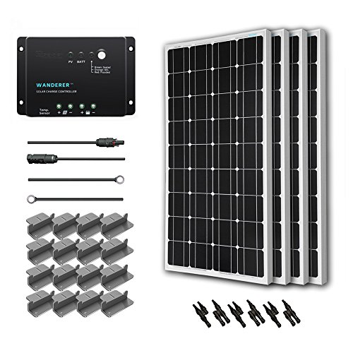 Renogy 400 Watt 12 Volt Monocrystalline Solar Starter Kit with Wanderer (Solar Panel Kits For Homes)