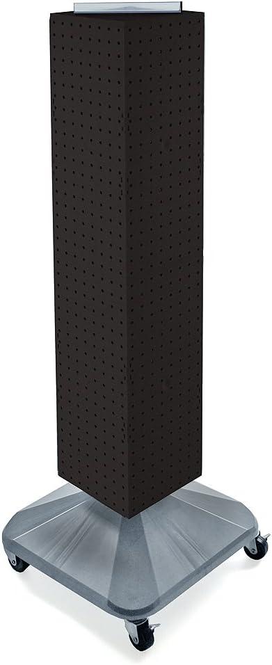 New Black Interlocking Pegboard Display with Wheeled Base 8 W x 8 D x 40h
