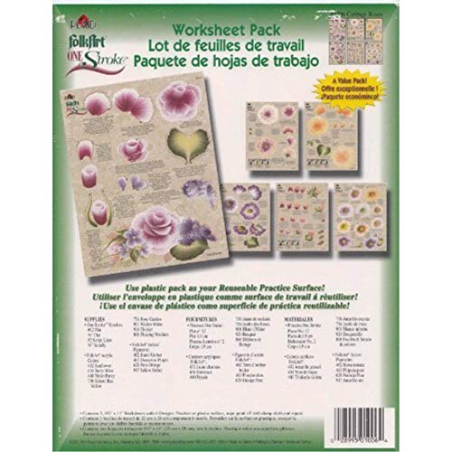 Donna Dewberry One Stroke Reusable Reversible Painting Teaching Guides Paint Worksheet Petal Flowers  Cabbage Roses Shabby Chic Pack Supplies Set 3 Double Sided Plastic Coated Practice Sheets  1006
