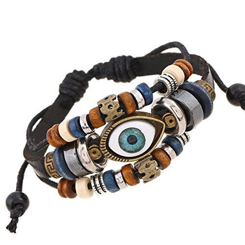 JUST N1 Blue Evil Eyes Multilayer Leather Braided Handmade Bangle Cross Bracelet Adjustable Bracelet For Man Women