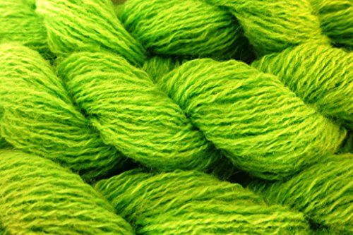 - Bright Chartreuse Green Acrylic with Lycra Spandex soft fingering Lace Weight Yarn
