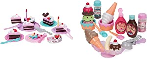 Play Circle by Battat – Princess Birthday Party Set – Play Food Toys for Kids 3 and Up (24 Pieces) & Sweet Treats Ice Cream Parlour Playset – Toy Frozen Dessert and Accessories for Kids 3 and Up